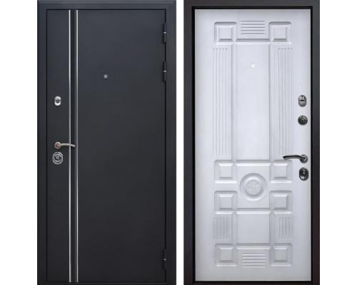 Входная металлическая дверь Квадро Лайн Рим (Искра черная / Белый с патиной)