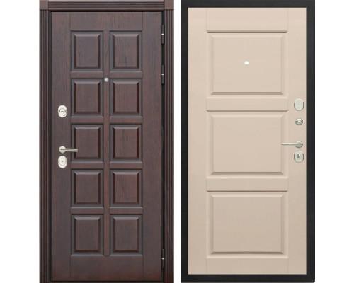 Входная металлическая дверь Сенатор Лондон Т-10 (Дуб коньяк / Эмаль ваниль)