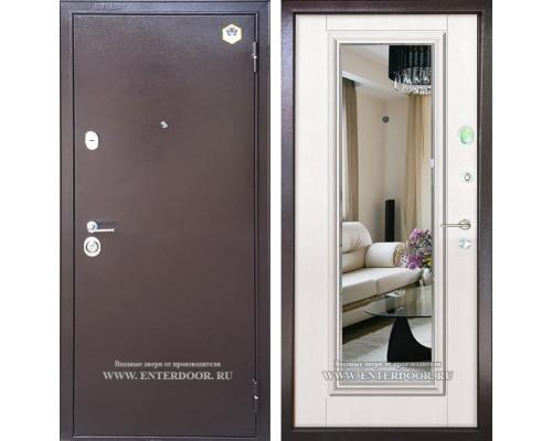 Входная металлическая дверь Бульдорс 14-Т с зеркалом (Медный антик / Шамбори Светлая)