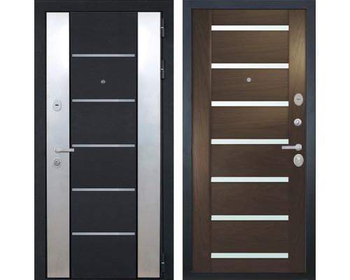 Входная металлическая дверь Интекрон Вельс Фоджа Шпон (Черный металлик / Дуб бургундский)