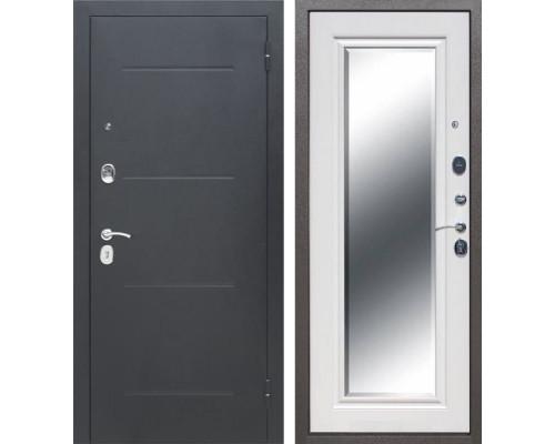 Входная металлическая дверь Гарда Зеркало (Антик Серебро / Ясень белый)