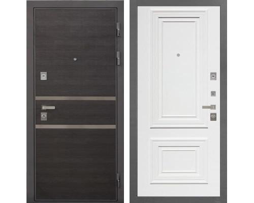 Входная дверь Интекрон Неаполь Сан Ремо-1 (Лен Сильвер / Сигнальный белый RAL 9003)
