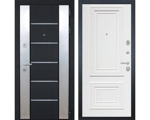 Входная металлическая дверь Интекрон Вельс Сан Ремо-1 (Чёрный металлик / Сигнальный белый RAL 9003)