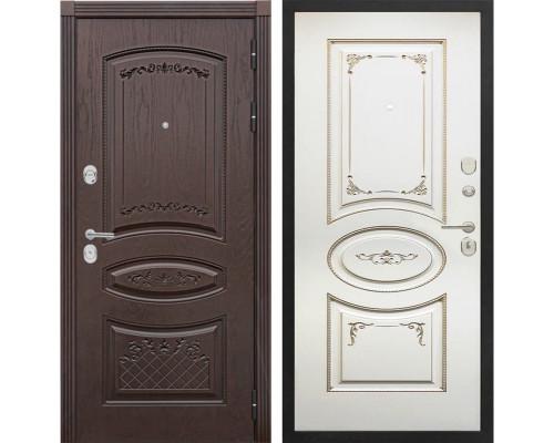 Входная металлическая дверь Сенатор Венеция К-8 (Дуб коньяк / Ваниль с патиной перламутр)