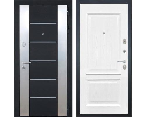 Входная металлическая дверь Интекрон Вельс Валентия-4 Шпон (Чёрный металлик / Ясень жемчуг)