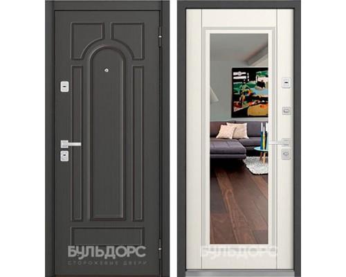 Входная металлическая дверь Бульдорс 45 с зеркалом (Ясень пепельный / Вуд дуб белый)