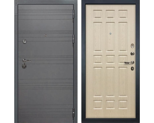 Входная дверь Лекс Сенатор 3К Софт графит (№28 Дуб беленый)