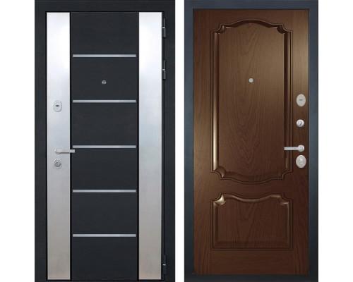 Входная металлическая дверь Интекрон Вельс Позитано Шпон (Чёрный металлик / Дуб бургундский)