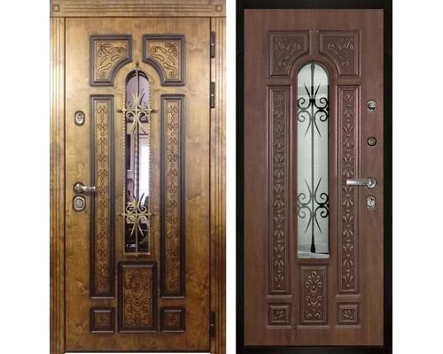 Уличная входная металлическая дверь со стеклом и ковкой Арктика (Палисандр / Дуб золотой)