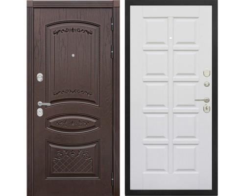 Входная металлическая дверь Сенатор Венеция Т-13 (Дуб коньяк / Эмаль белая)