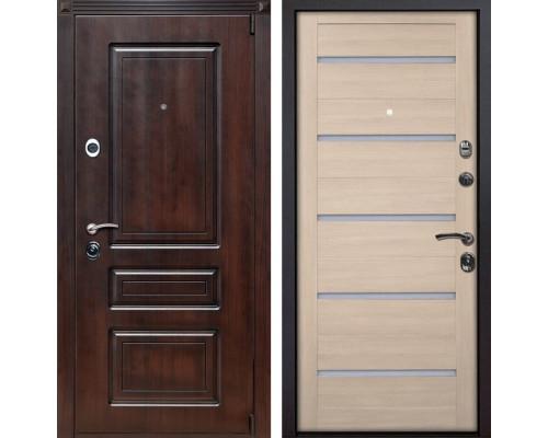 Входная металлическая дверь Неаполь X7 (Вишня тёмная / Капучино Мелинга)