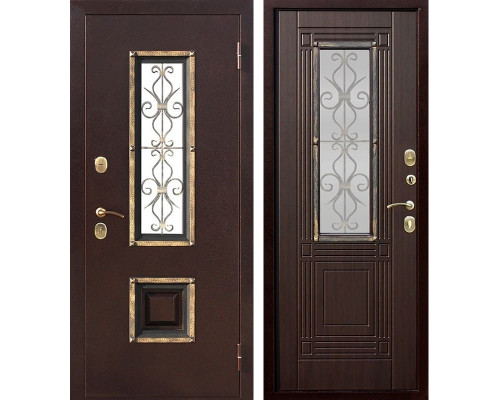 Входная дверь со стеклопакетом и ковкой Венеция (Антик медь / Венге)