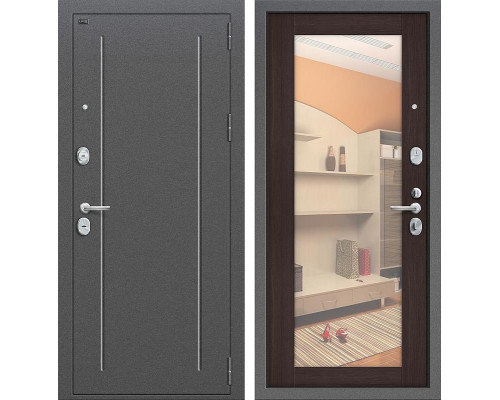 Дверь входная металлическая Groff T2-220 с зеркалом (Серебро антик / Wenge Veralinga)