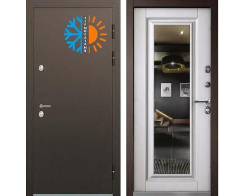 Входная уличная дверь с терморазрывом Бульдорс Термо-2 с зеркалом Белый перламутр ТВ-8