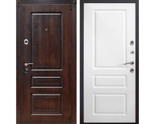Входная металлическая дверь Неаполь (Тёмная вишня / Белый)