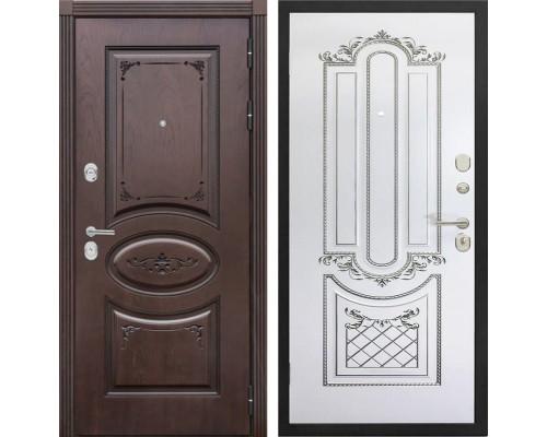 Входная металлическая дверь Сенатор Верона К-4 (Дуб коньяк / Белый с патиной серебро)