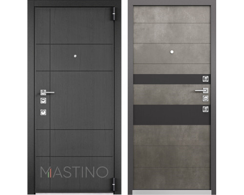 Входная металлическая дверь Mastino Forte (Синхропоры графит MS-114 / Бетон темный MS-118)