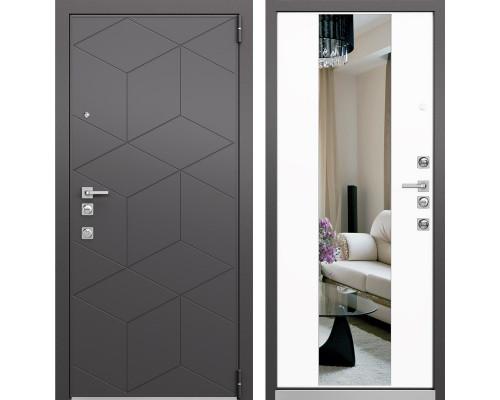 Входная металлическая дверь Mastino Forte с Зеркалом (Темный пепел MS-112 / Милк матовый MS-120)