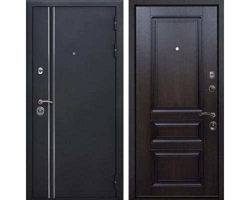Входная металлическая дверь Квадро Лайн Неаполь (Искра черная / Темная вишня)