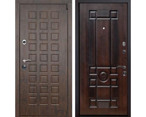 Входная металлическая дверь Верона Рим (Тиковое дерево / Темная вишня)