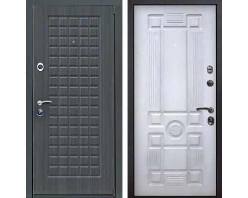 Входная металлическая дверь Мадрид Рим (Дуб серый / Белый с патиной)