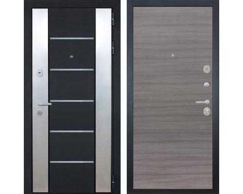 Входная металлическая дверь Интекрон Вельс (Черный металлик / Дуб Тоскано)