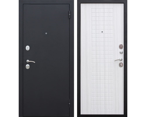 Входная металлическая дверь Гарда (Черный муар / Ясень белый)