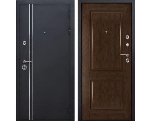 Входная металлическая дверь Квадро Лайн 71 (Искра черная / Каштан)