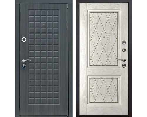 Входная металлическая дверь Мадрид 72 (Дуб серый / Капучино)