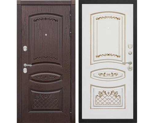Входная металлическая дверь Сенатор Венеция К-3 (Дуб коньяк / Белый с патиной золото)