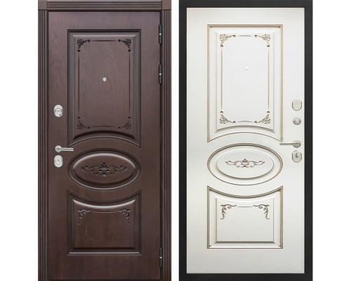 Входная металлическая дверь Сенатор Верона К-8 (Дуб коньяк / Ваниль с патиной перламутр)