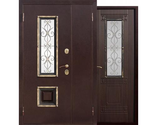 Входная дверь со стеклопакетом и ковкой Венеция 1200-1300х2050 (Антик медь / Венге)
