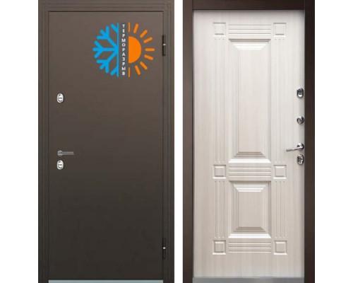 Входная уличная дверь с терморазрывом Бульдорс Термо-1 Белый перламутр ТВ-2