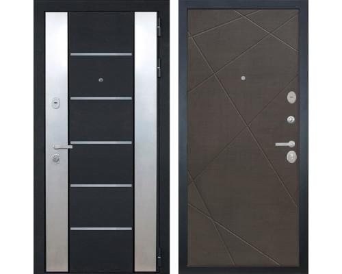 Входная металлическая дверь Интекрон Вельс Лучи-М (Черный металлик / Венге распил кофе)
