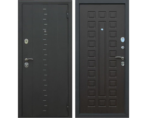 Входная металлическая дверь АСД Агата-3 (Муар чёрный / Венге)