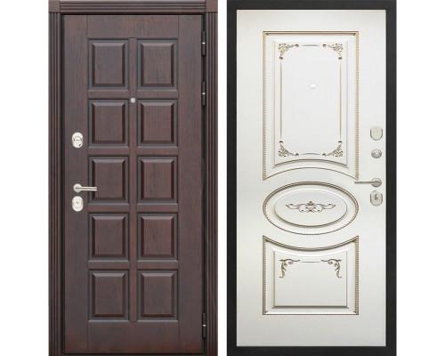 Входная металлическая дверь Сенатор Лондон К-8 (Дуб коньяк / Ваниль с патиной перламутр)