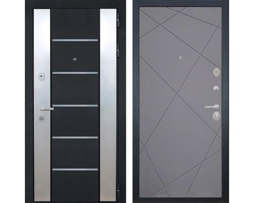 Входная металлическая дверь Интекрон Вельс Лучи-М (Черный металлик / Софт Графит)