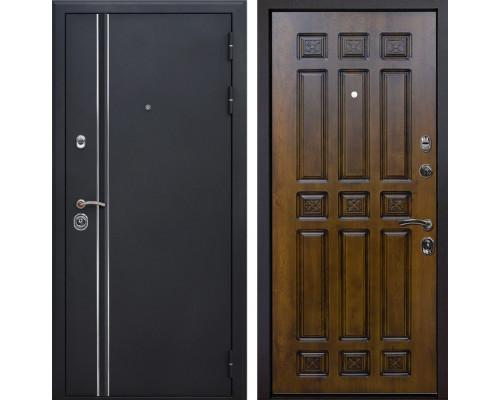 Входная металлическая дверь Квадро Лайн Палермо (Искра черная / Золотой дуб)