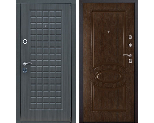 Входная металлическая дверь Мадрид 70 (Дуб серый / Каштан)