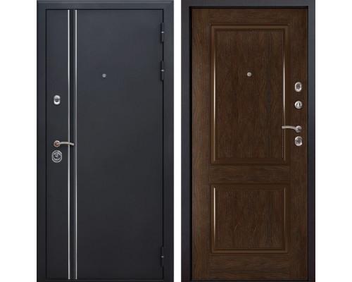 Входная металлическая дверь Квадро Лайн 72 (Искра черная / Каштан)