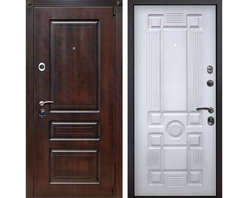 Входная металлическая дверь Неаполь Рим (Вишня тёмная / Белый с патиной)