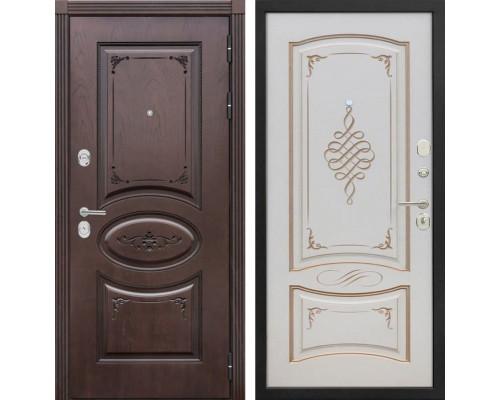 Входная металлическая дверь Сенатор Верона К-11 (Дуб коньяк / Ваниль с патиной перламутр)