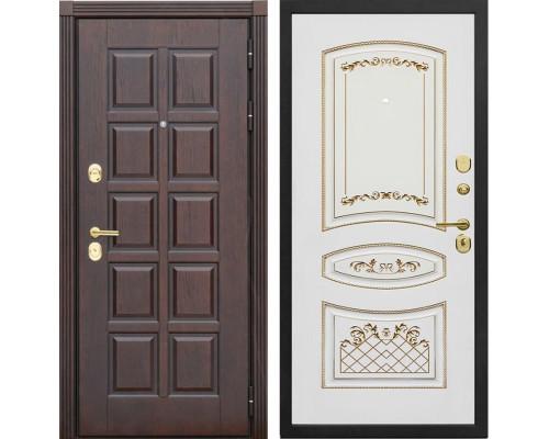 Входная металлическая дверь Сенатор Лондон К-3 (Дуб коньяк / Белый с патиной золото)