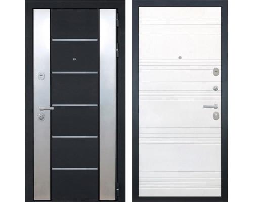 Входная металлическая дверь Интекрон Вельс ФЛ-316 (Чёрный металлик / Ясень белый)