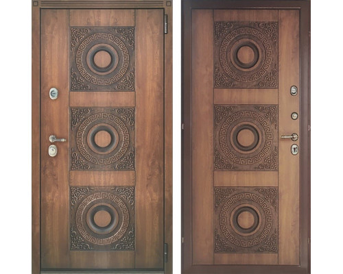 Входная металлическая дверь Персона Евро-3 (Орех грецкий / Орех грецкий)