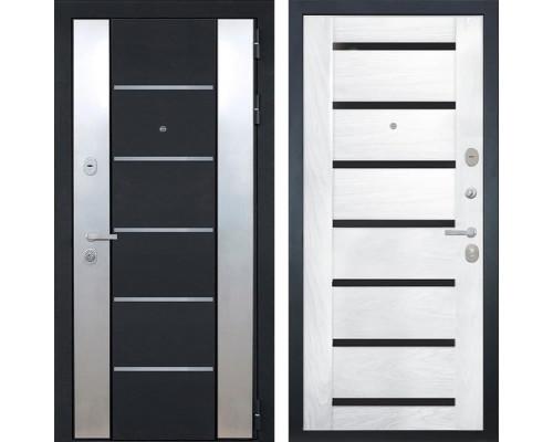 Входная металлическая дверь Интекрон Вельс Фоджа Шпон (Черный металлик / Ясень жемчуг)