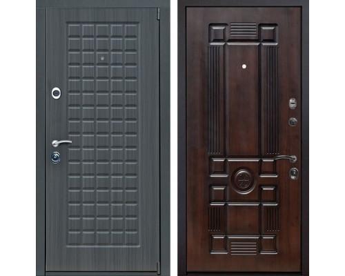 Входная металлическая дверь Мадрид Рим (Дуб серый / Тёмная вишня)
