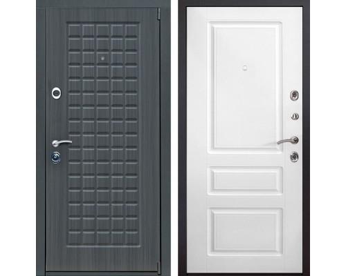 Входная металлическая дверь Мадрид Неаполь (Дуб серый / Белый)