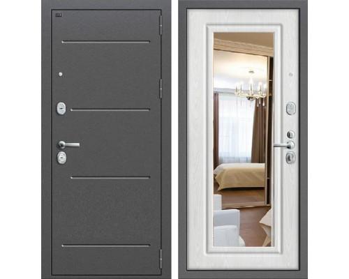 Дверь входная металлическая Groff P2-206 с зеркалом (Беленый дуб)