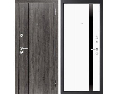 Входная металлическая дверь Персона Евро-3 (Дуб серый / Софт белый)